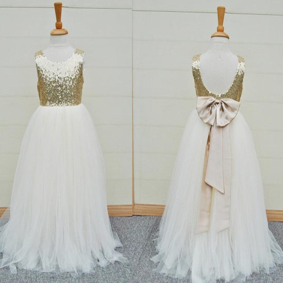 Gold sequin top white tulle cute flower girl dresses for wedding