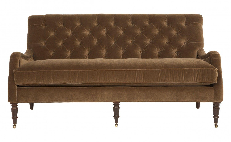coffee velvet tufted sofa