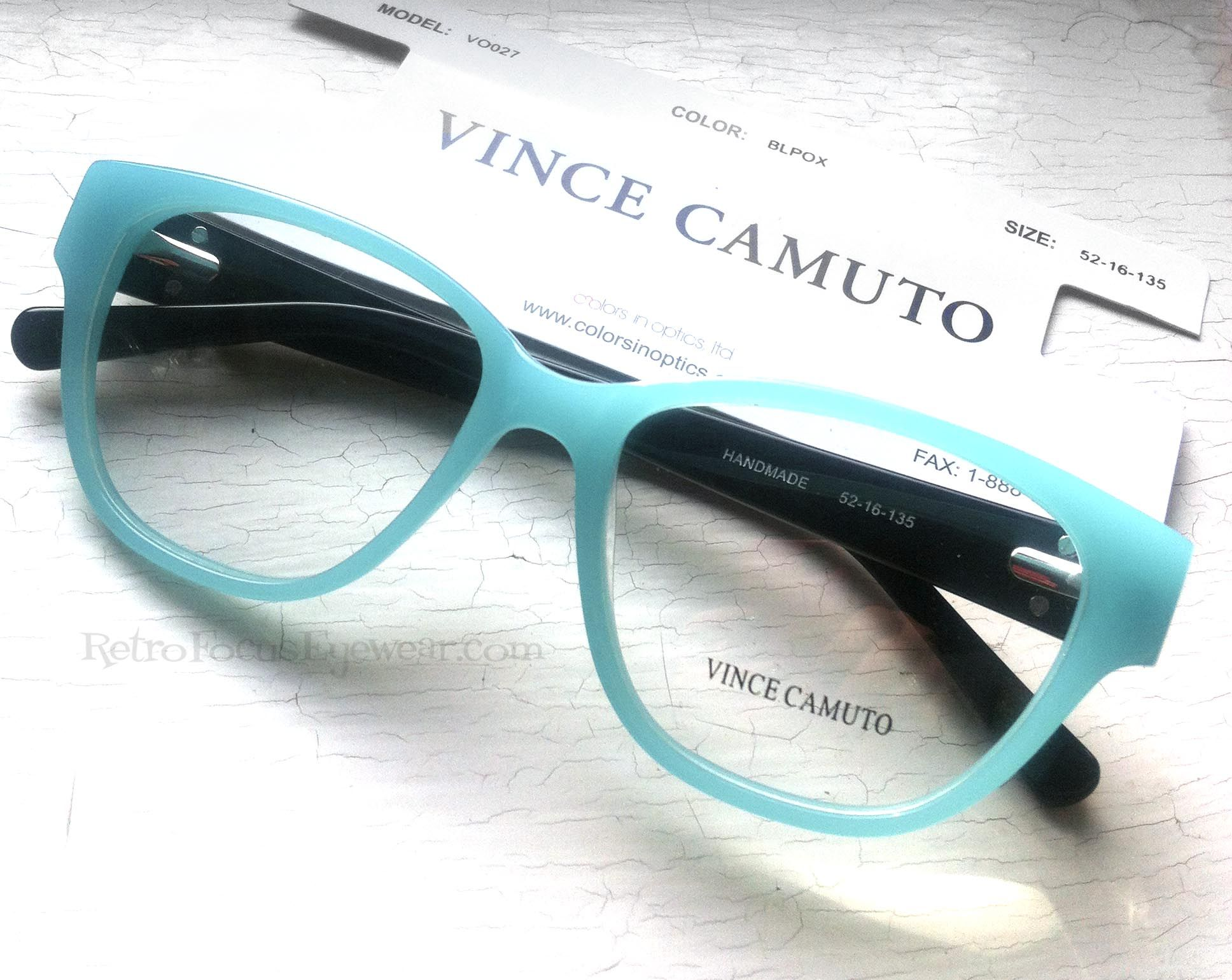Aqua Turquoise hipster geek hornrim eyeglass frames. By Vince Camuto ...