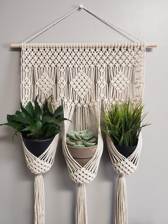 Photo of Diamond triple plant hanger / Small macrame wall hanging / plant holder / home d…