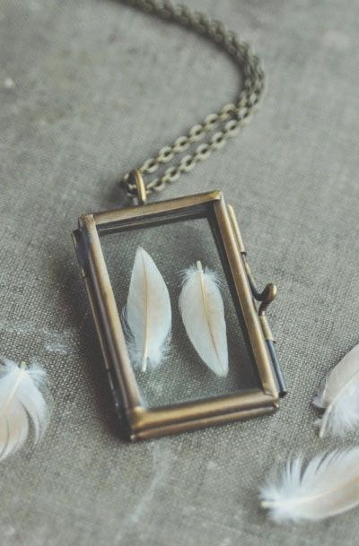 Lovely Clusters - Beautiful Shops: glass specimen locket necklace - feathers