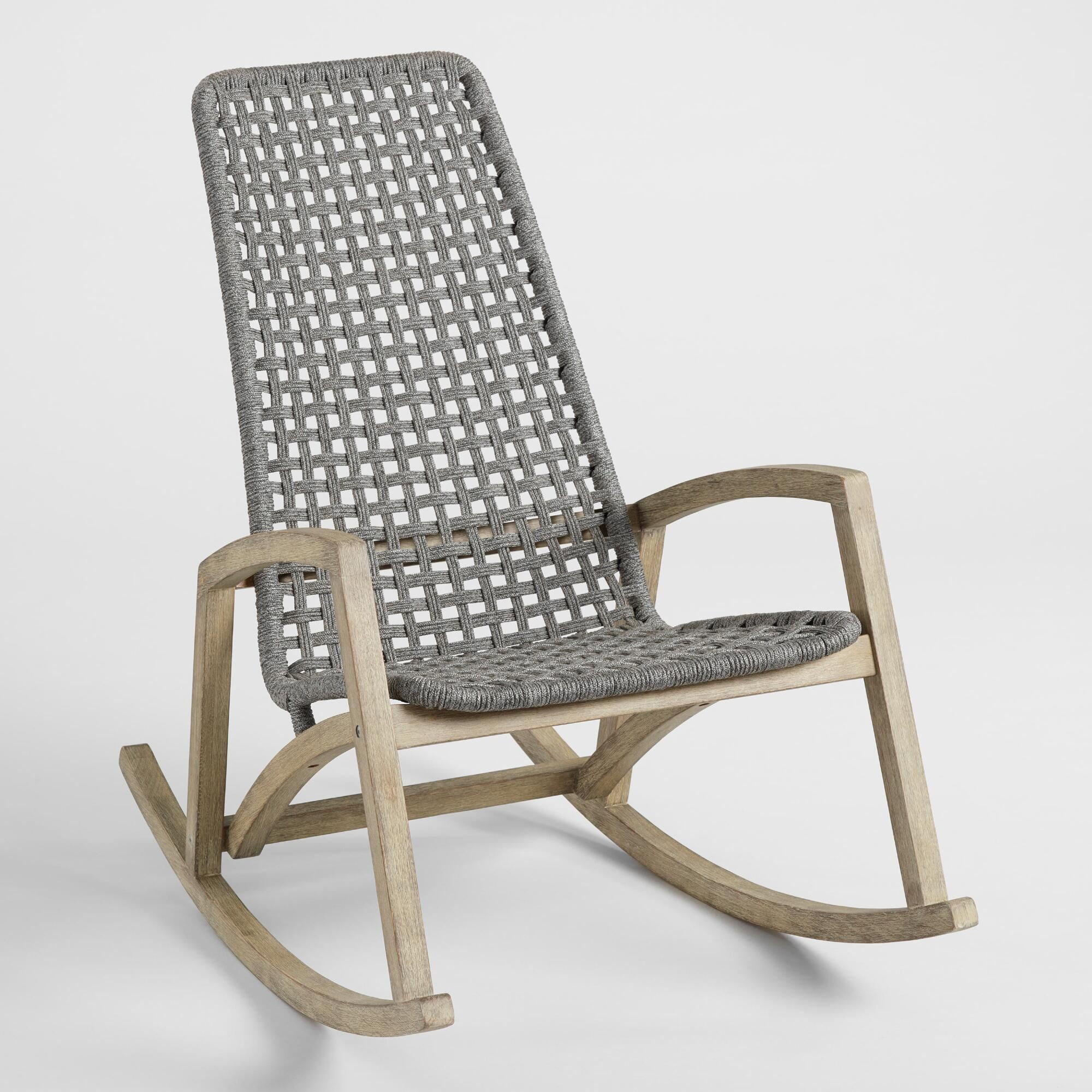 Gray Nautical Rope Rapallo Outdoor Patio Rocking Chair By