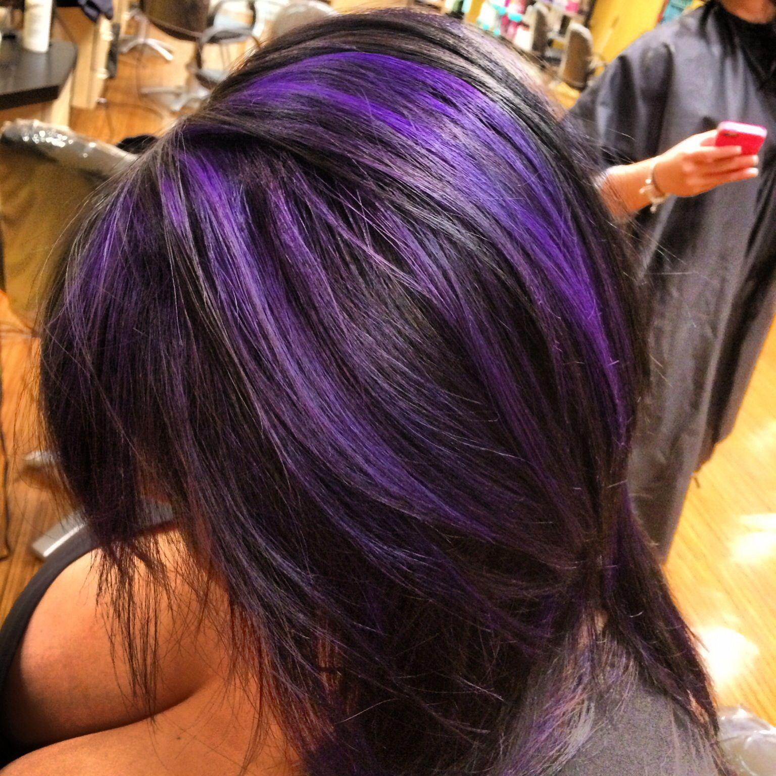 kristins purple highlights black hair hair done nails
