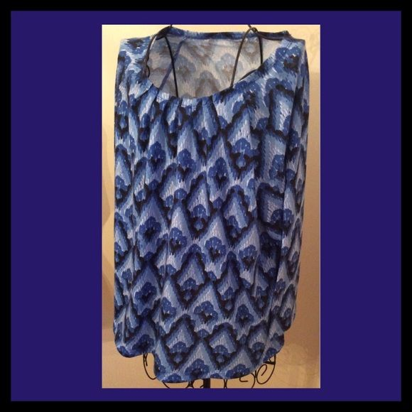 """Blue pullover top.💕Firm This top is some sort of cotton blend.  It has 3/4 sleeves.  The tag is missing because I have issues with tags being irritating, thus the low price. Length is 26"""" from neckline at the back to the bottom hem. Tops Blouses"""