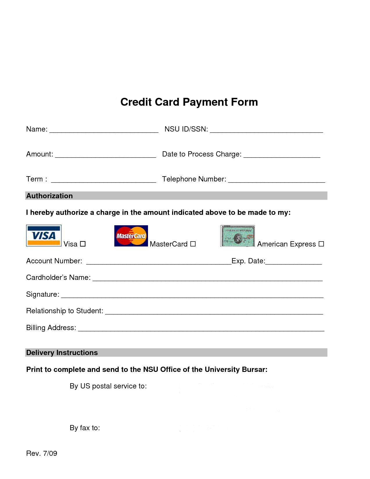 Credit Card Processing Form In 2020 Free Credit Card Credit