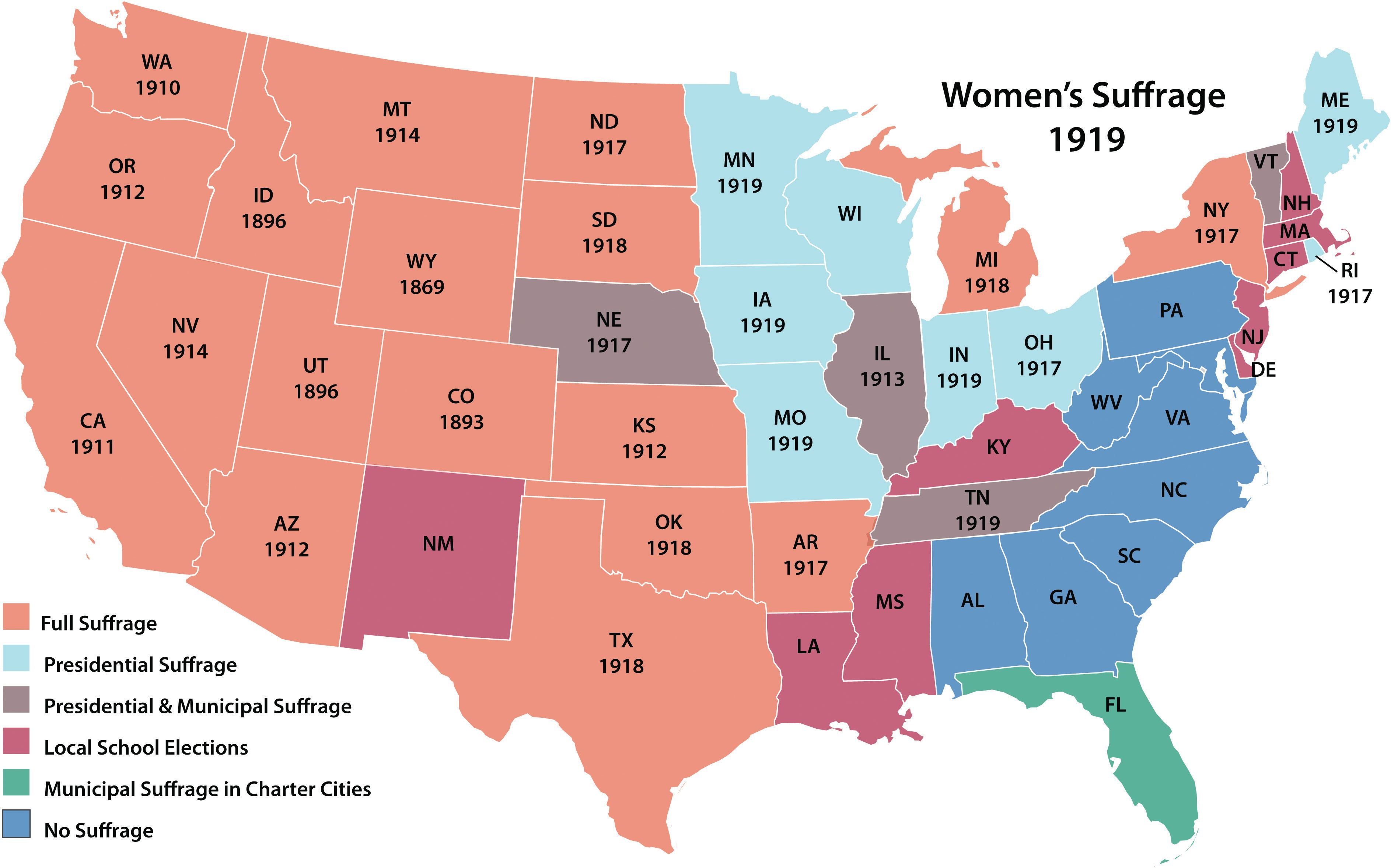 Map Of The US Showing Levels Of Womens Suffrage In Different - Us timeline map
