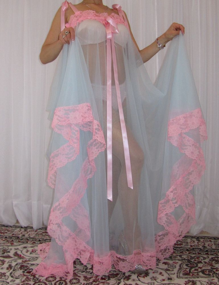 Vtg Nylon Lace Lingerie Nightgown Babydoll Slip Full Sweep Negligee M-6X   Unbranded  RobeGownSets ecb60d6b8