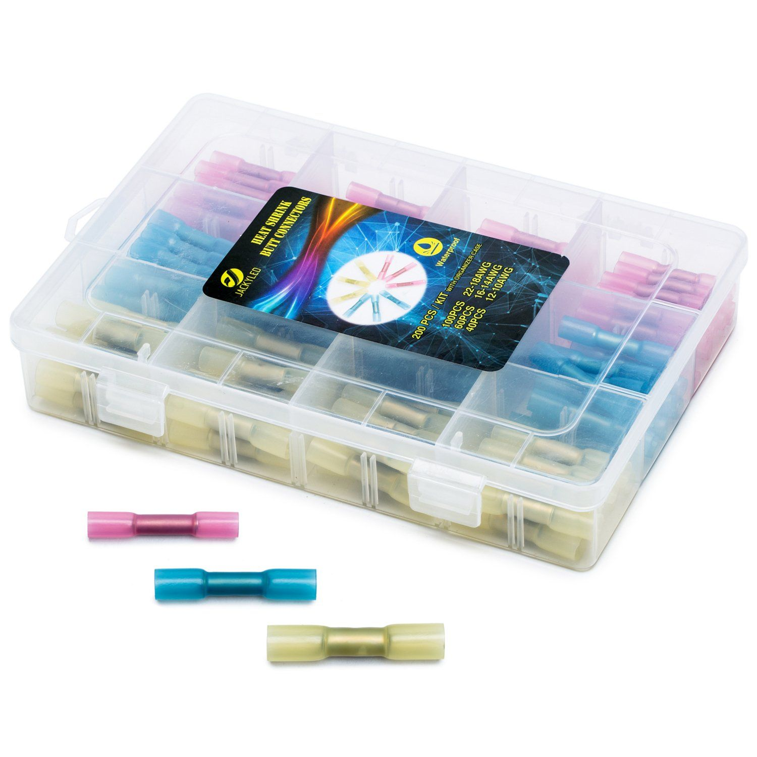 heat shrink butt connectors kit jackyled 200pcs 22 10ga waterproof seal assorted electrical wire crimp terminals set 100red 60blue 40yellow  [ 1500 x 1500 Pixel ]
