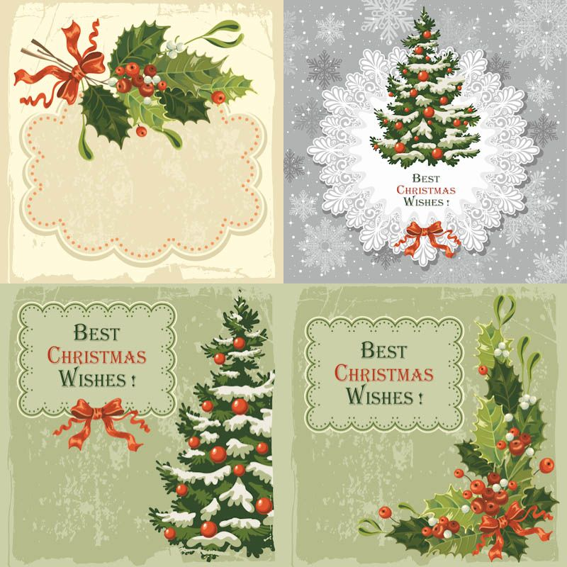 #Vintage #Christmas Greeting Cards #vector