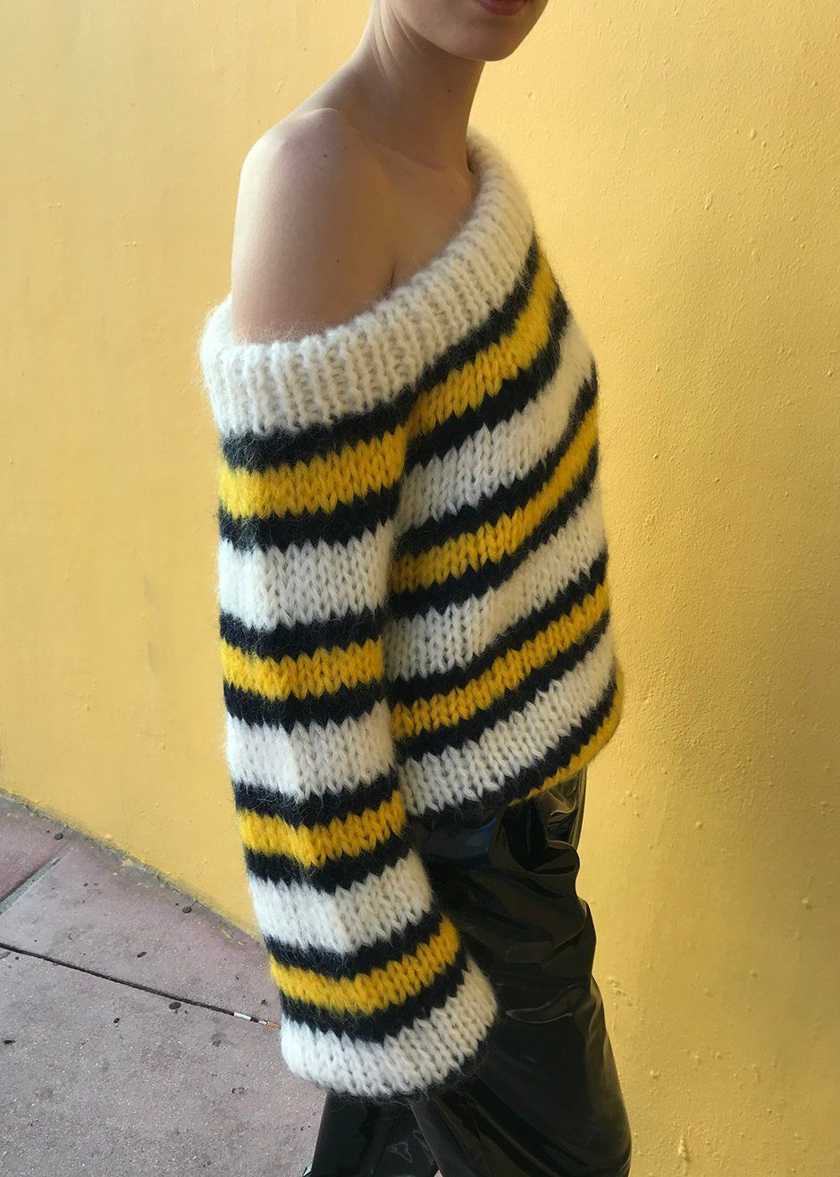 #newarrivals #Ganni #Julliard #offtheshoulder #striped #mohair #knit  #sweater #thefrankieshop #frankienyc #frankiegirl Striped Chunky Knit,  Pullover Sweater ...