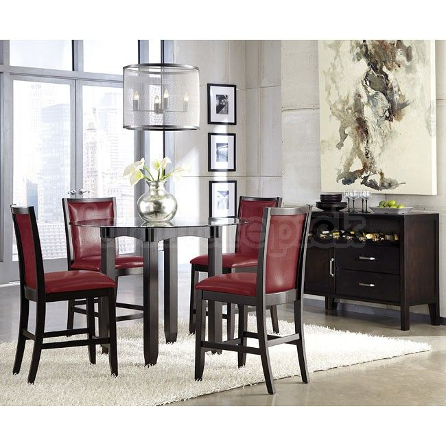 Trishelle Counter Height Dining Set W Red Chairs  Furniturepick Glamorous Dining Room Chairs Red Review