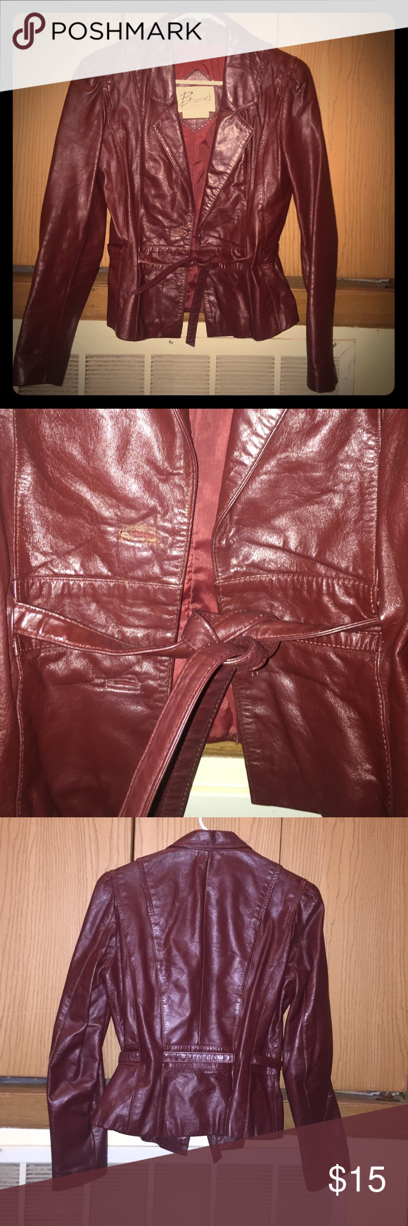 "Short burgundy leather blazer Short and sweet vintage burgundy leather blazer. Belt tie but 2 front buttons are missing (price reflects); no damage to leather. Bust 34"", shoulder 17.5"", sleeve 21.5"", length 21.5"". Super cute! Berman's Jackets & Coats Blazers"