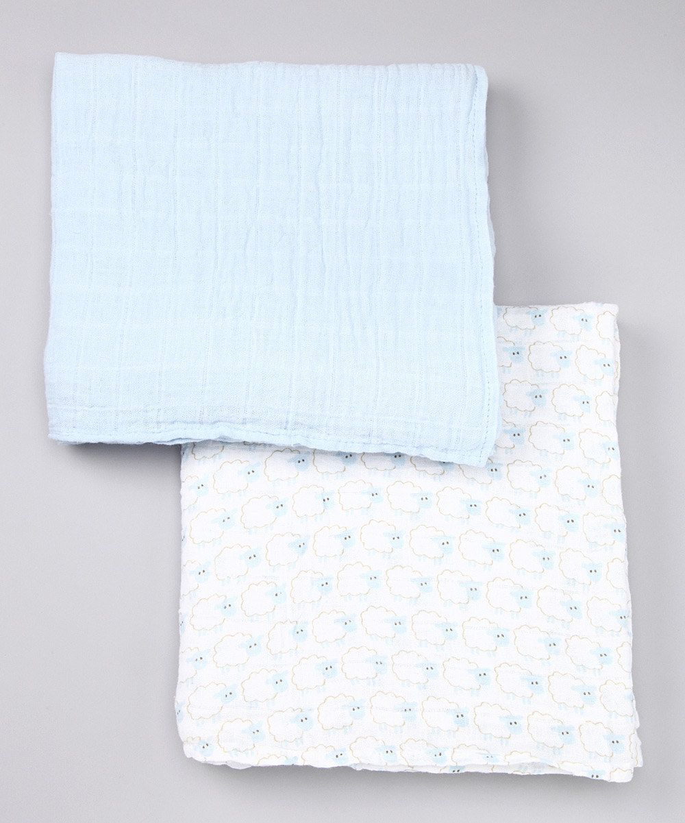 Swaddling And Receiving Blankets Pleasing Blue Muslin Swaddle Blanket Set  Baby Dew❤  Pinterest  Muslin 2018