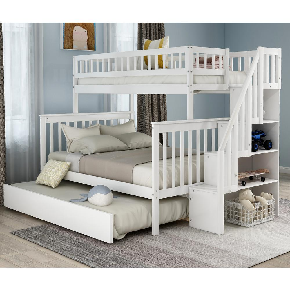 Harper Bright Designs White Twin Over Full Bunk Bed With Trundle And Stairs For Kids Sm000095aak 1 The Home Depot In 2021 Bunk Bed With Trundle Bunk Beds With Storage Bunk Beds White twin over full bunk bed
