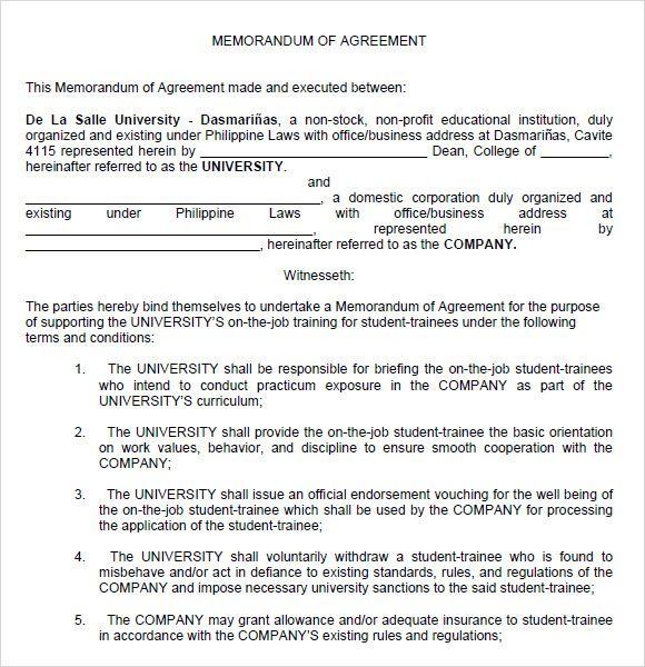 Memorandum Of Agreement Between Two Parties In 2019