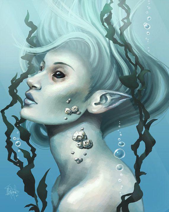Sea Creature 8x10 Fine Art Archival Print Beautiful Mermaid Painting Girl With Barnacles And Kelp Fantasy Fantasy Mermaid Aquatic Art Mermaid Painting