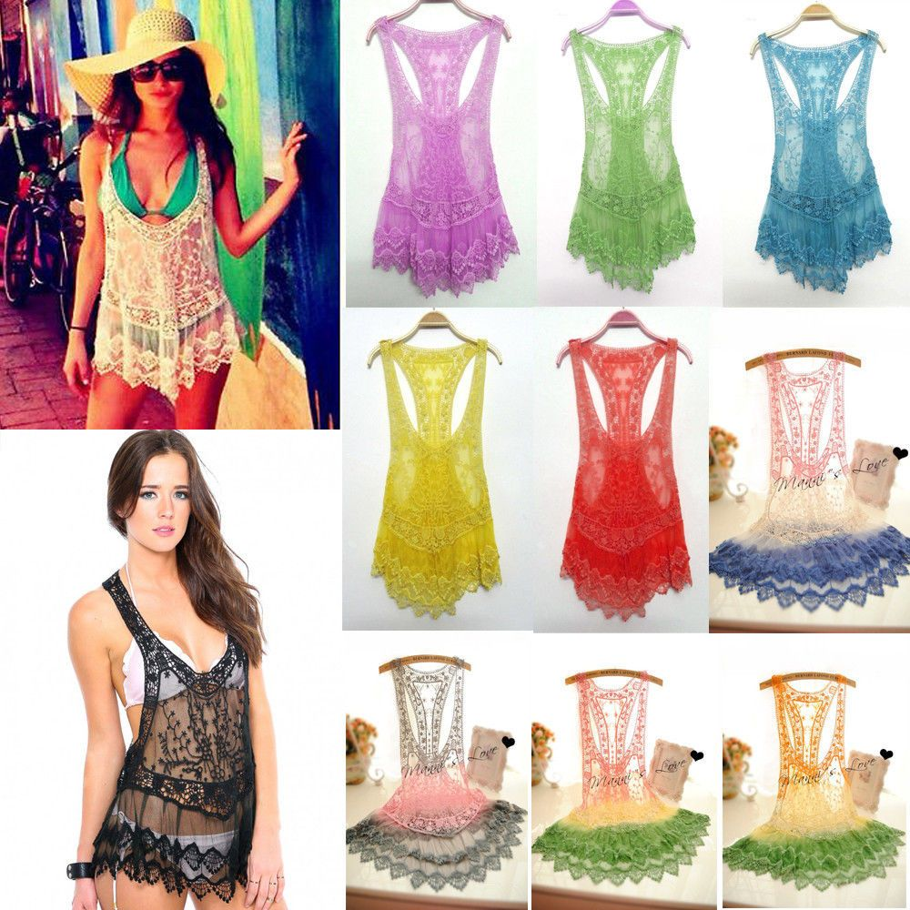 Details about women bathing suit sexy lace hollow crochet bikini details about women bathing suit sexy lace hollow crochet bikini swimwear cover up beach dress bankloansurffo Images