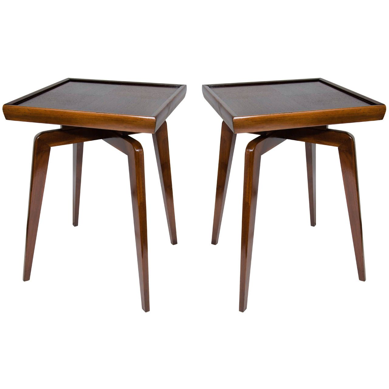 Pair Of Mid Century Modern Walnut Wood Side Tables With Spider Leg Design |  From A