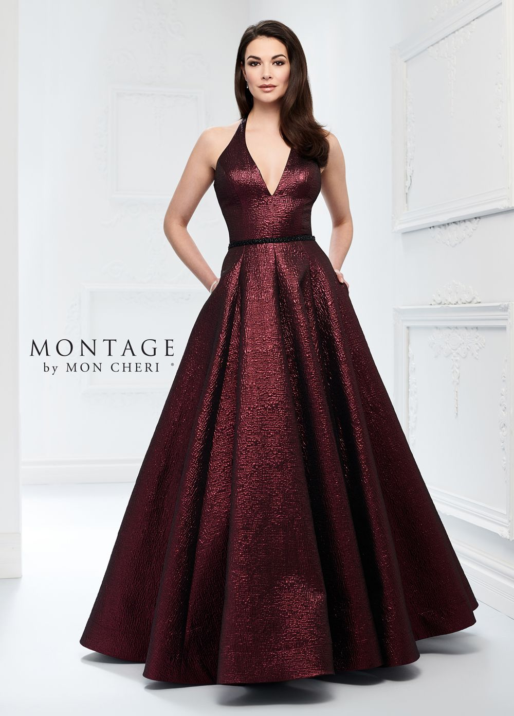 This Montage By Mon Cheri 218922 Mulberry Evening Gown Is Fashioned In Metallic Brocade With A Plunging Halter Dresses Ball Gowns Mother Of The Bride Dresses