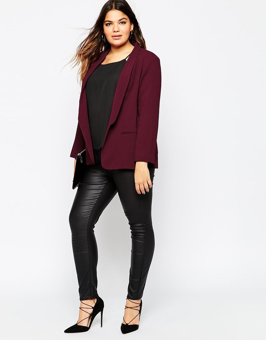 3a034be3467 ASOS CURVE • Blazer In Crepe With Slim Lapel