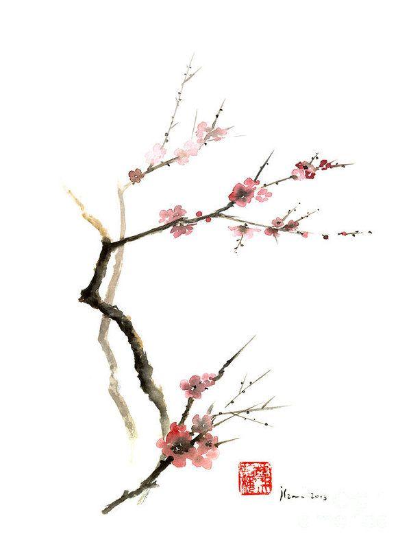 Cherry Blossom Sakura Flowers Pink Red White Brown Black Tree Flower Watercolor Painting Art Print By Mariusz Szmerdt Cherry Blossom Watercolor Cherry Blossom Art Watercolor Flowers Paintings