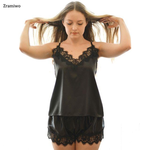 82da5bc5b8 Black Lace Pajamas Satin Sleepwear Cami and Shorts Set Soft Lady Nightwear  Summer Nightie Elegant Nightgown Review