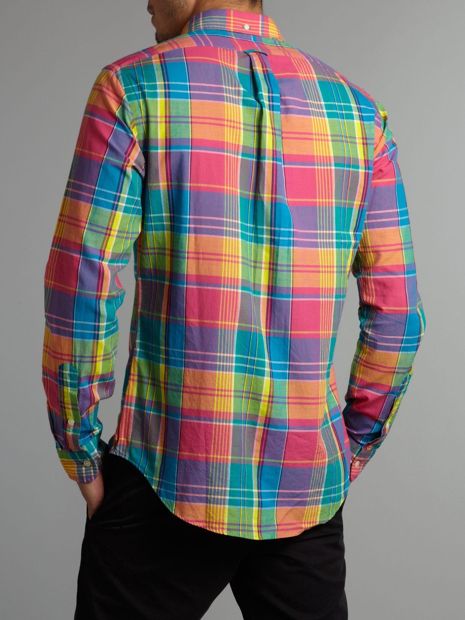 Polo ralph lauren Slim Fit Bright Plaid Shirt in Multicolor for ... 45cfa5538fd