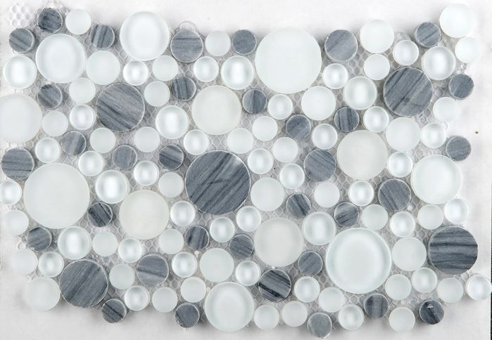 Lucente Glass Stone Blend Circle Mosaic Tile In Grazia Mosaic Tiles Emser Tile Stone Mosaic Tile