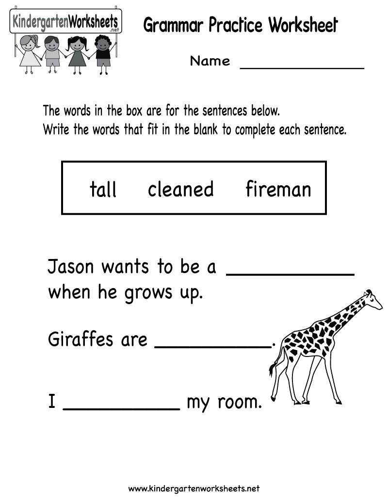 Kindergarten Grammar Practice Worksheet Printable – Grammar Worksheets Free