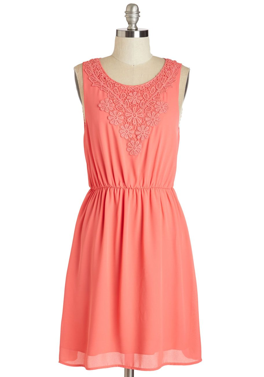 Bright pink dress for wedding guest  Constellation of Your Creation DIY Kit  ModCloth Coral dress and