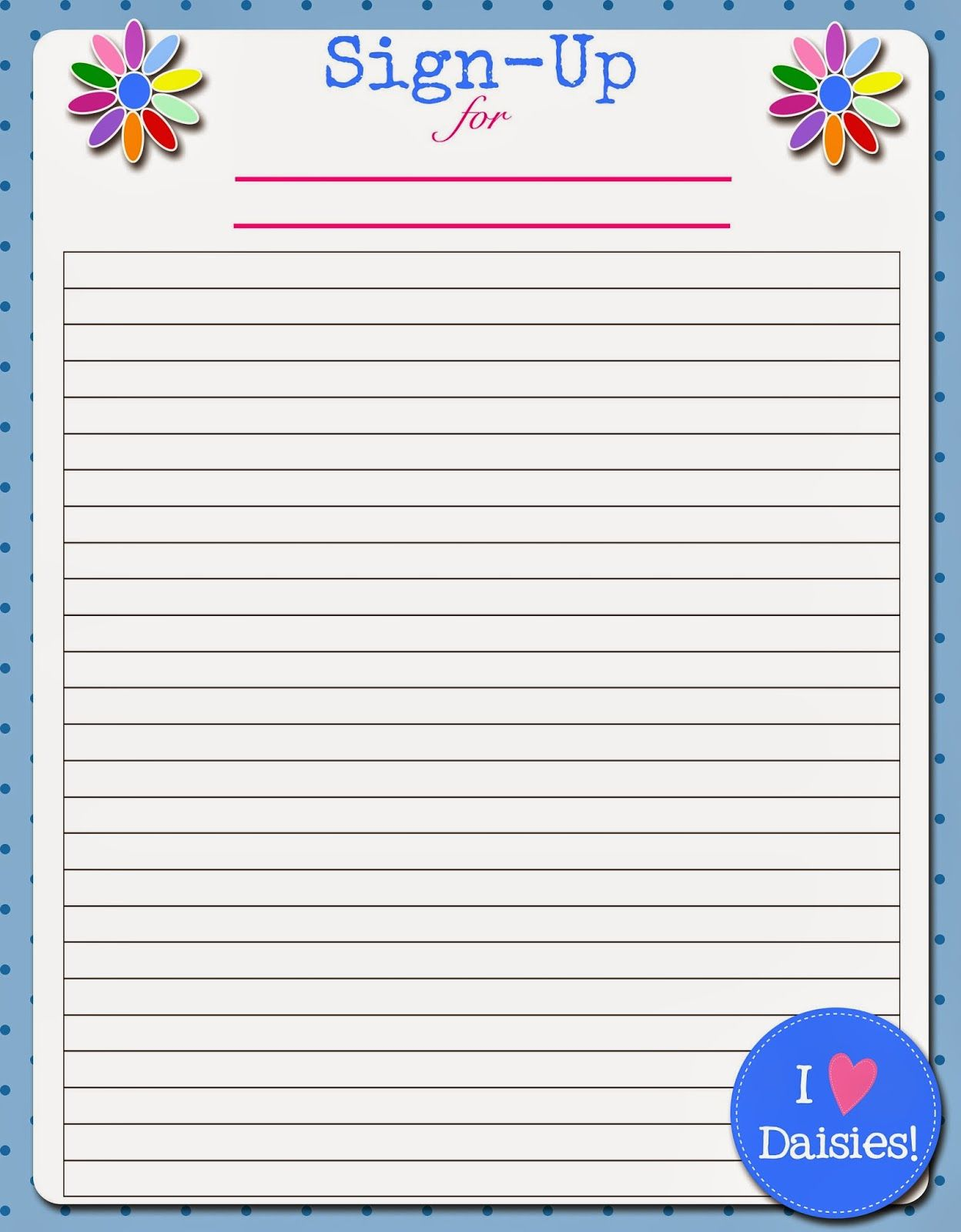 Fashionable Moms Daisies Troop Roster Sign Up Sheet – Signup Sheets