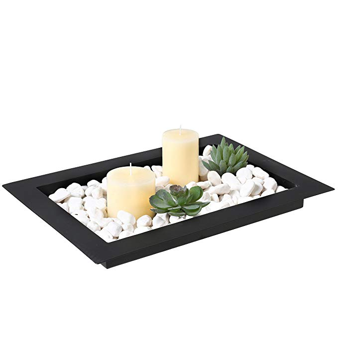 Votive Candle Holder in Rock Tray Centerpiece made of Glass//Metal//River