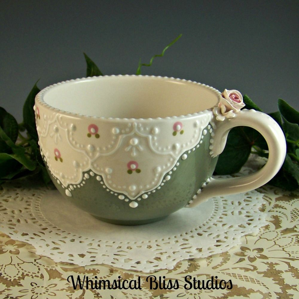 Whimsical Bliss Studios - Large Green Lace Cup