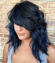 Image Result For Blue Ombre Medium Length Hair Blue Hair Highlights Hair Color For Black Hair Black Hair Dye