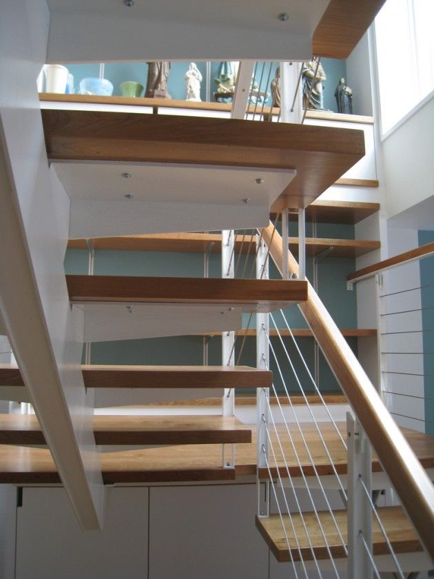 Best Custom Steel Stair With Cherry Wood Treads And Handrail 400 x 300