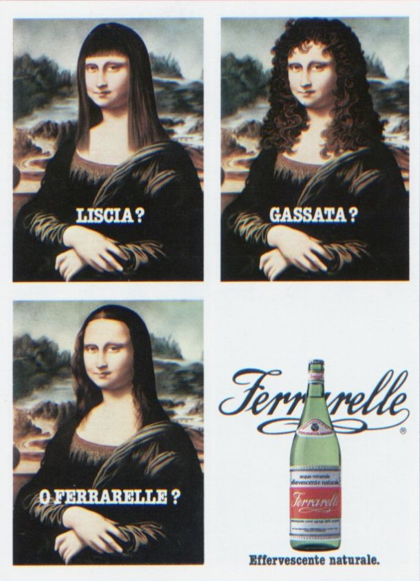 Questa pubblicità della Ferrarelle era citata anche nel mio libro di Storia dell'Arte delle medie... XD