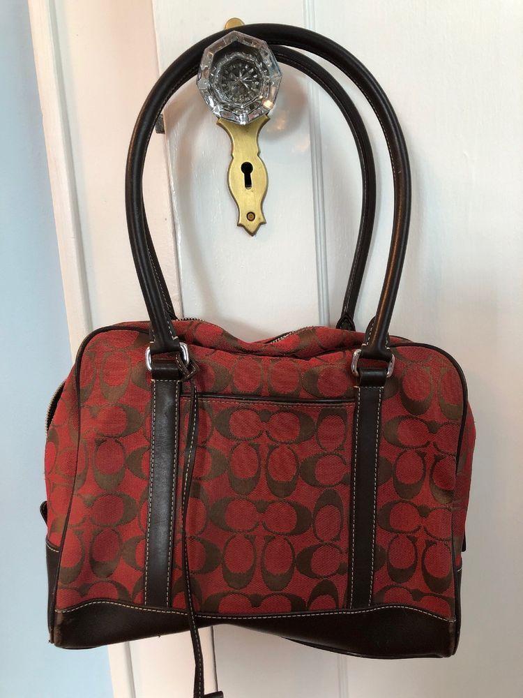 ... inexpensive coach f1r6097 signature zip womens tote handbag. red w.  brown leather. medium ... 549a65c0f1c4e