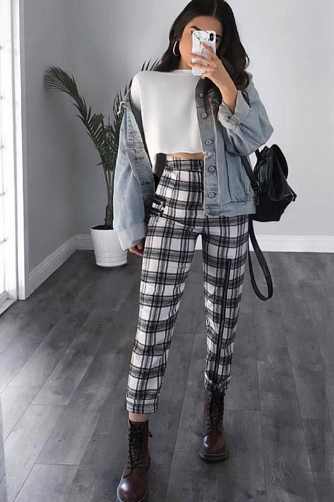 Plaid Pants With Denim Jacket Outfit #denimjacket ★ Looking for some trendy an...