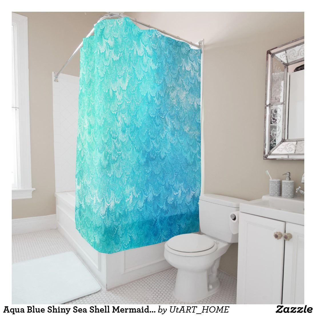 Aqua Blue Shiny Sea Shell Mermaid Fish Scales Shower Curtain Beautiful Teal Shining Feminine And Elegant In Different Shades Of Turqoise