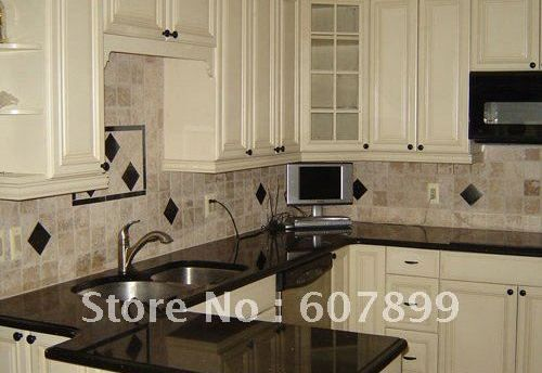 Black Galaxy Granite Countertops With White Cabinets Home In 2019
