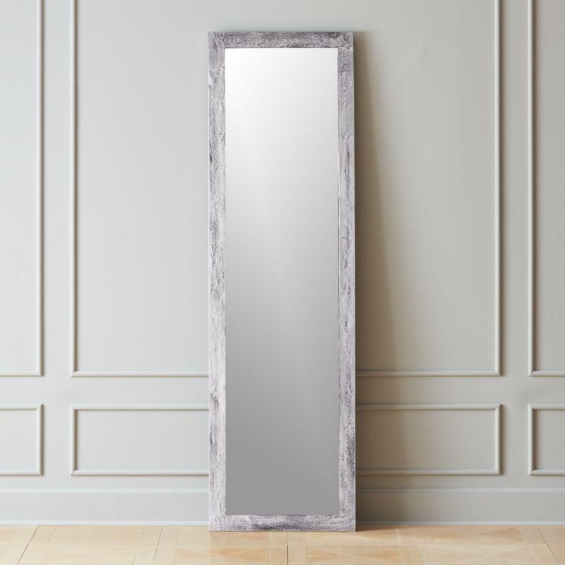 Shop Chev Rough Cast Silver Floor Mirror 20 X70 Rough Hewn Aluminum In Shiny Silver Finish Frames Full Floor Mirror Silver Floor Mirror Modern Floor Mirrors