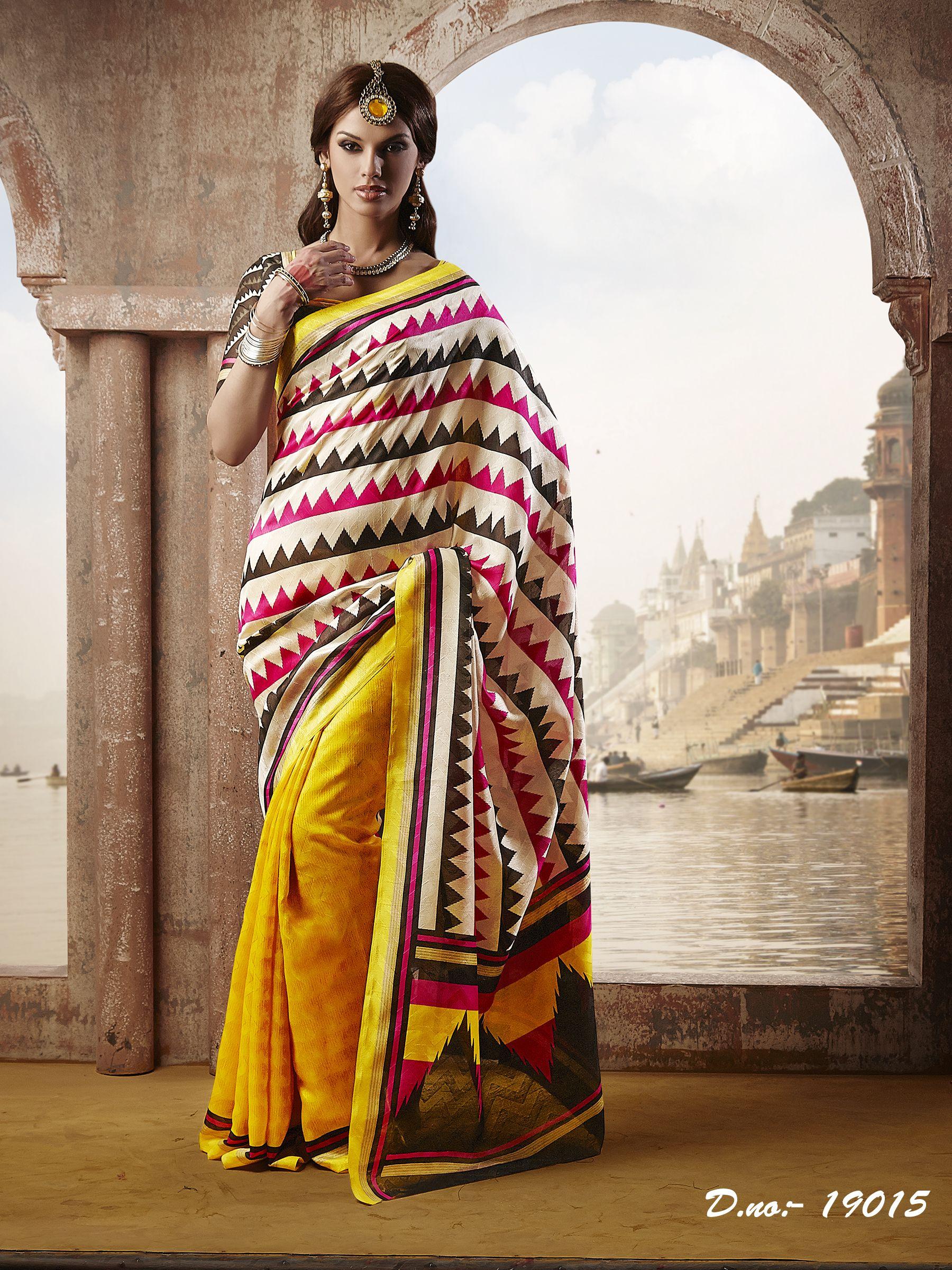 Tissue silk saree desinger printed bhagalpuri silk saree  fteensshop