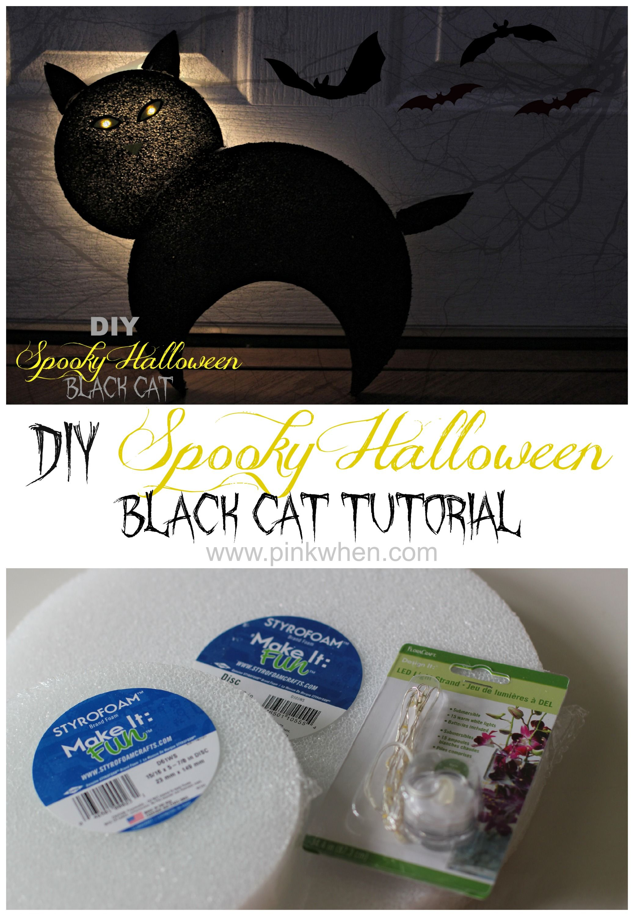 DIY Spooky Halloween Black Cat Halloween black cat, Spooky - How To Make Halloween Decorations