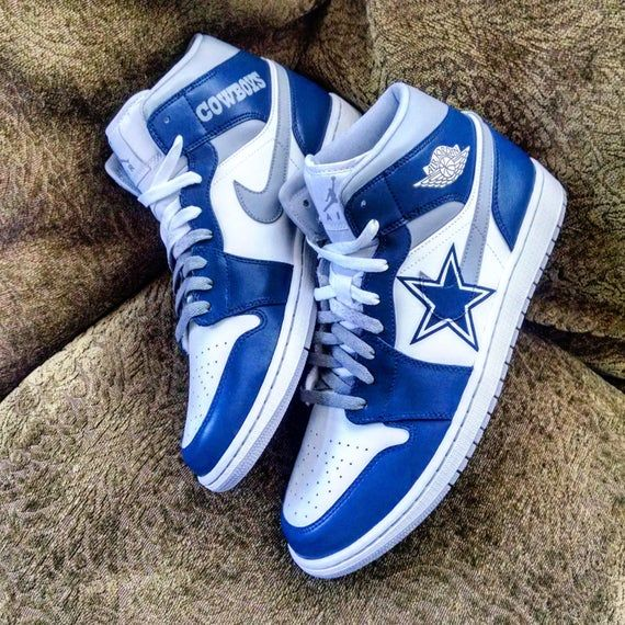 These are custom Jordans with hand painted Dallas Cowboys