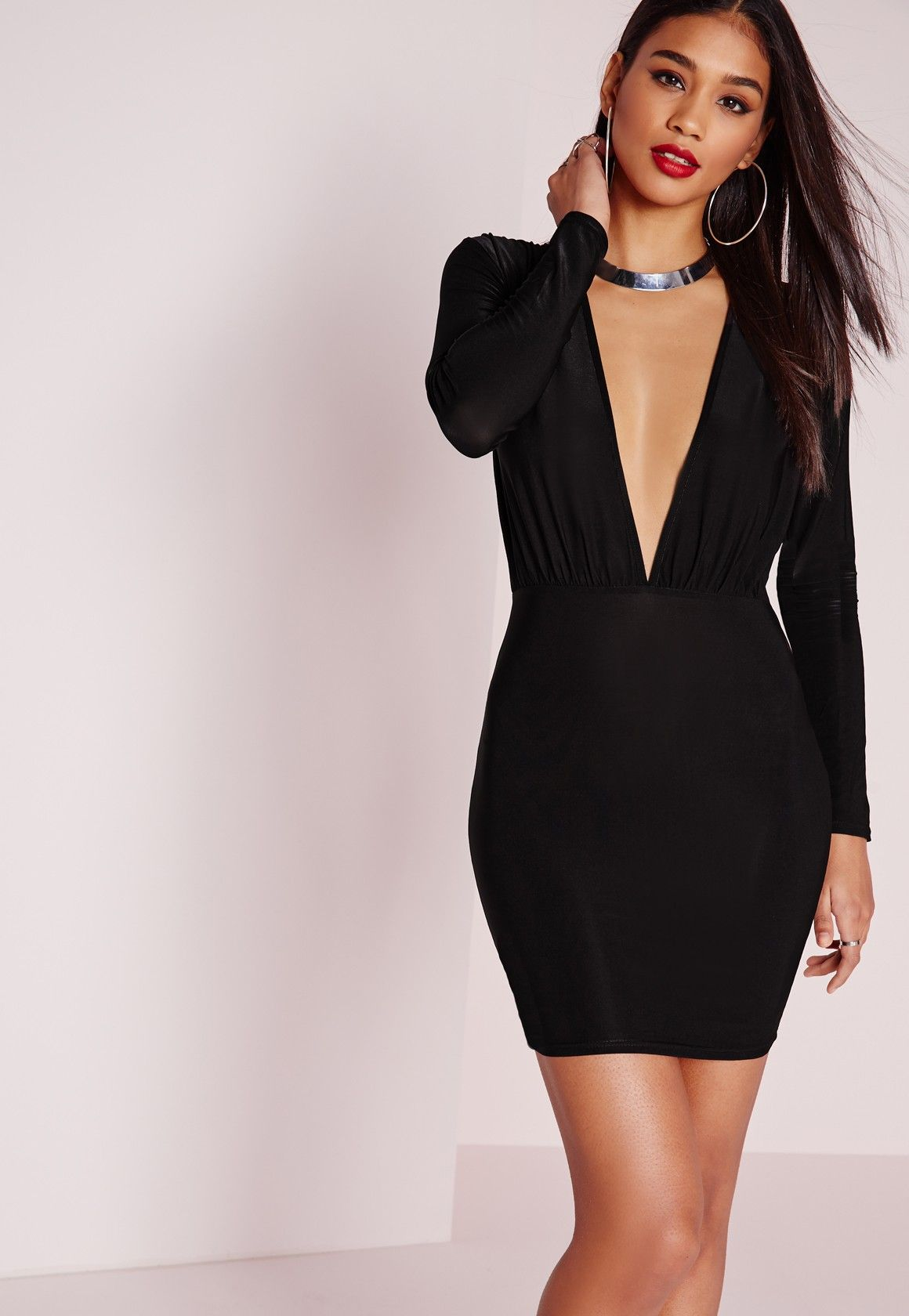 731088017e1570 Missguided - Slinky Long Sleeve Bodycon Dress Black