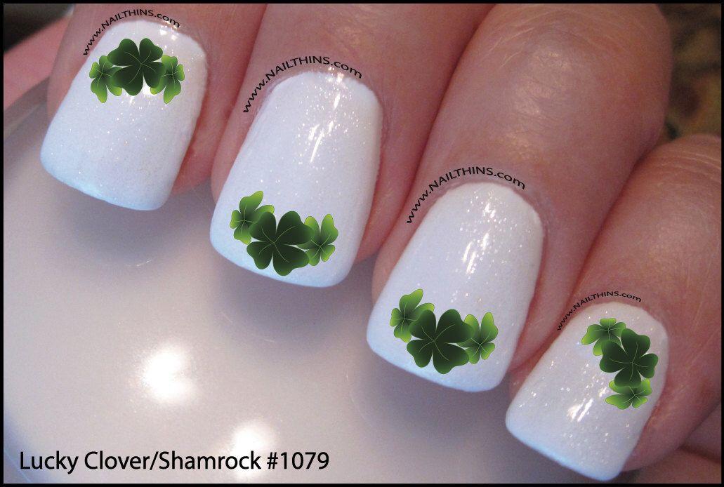 Shamrock Nail Decal Clover Leaf Design Nail Art By Downingstdesign