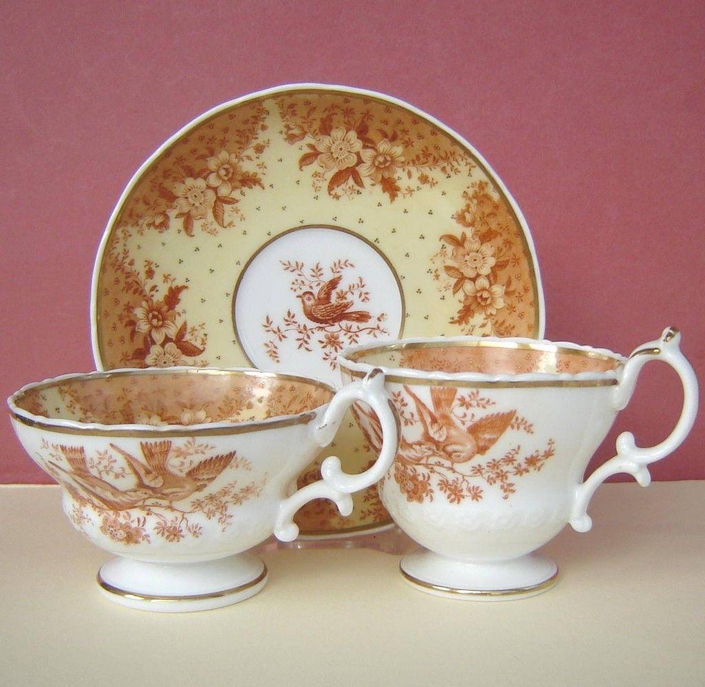 Ridgway Porcelain Trio Birds Butterflies P 2 3237 C1835 | eBay