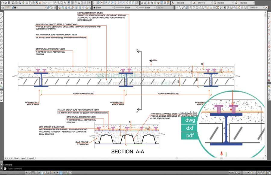 Sd03 Steel Beam Composite Slab Cross Section Detail