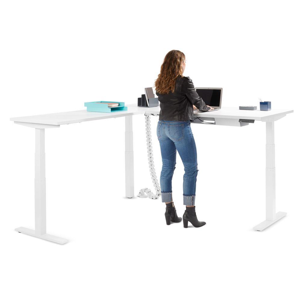 Series L Adjustable Height Corner Desk White With White Base Left Handed Adjustable Height Desks Poppin Adjustable Height Desk White L Shaped Desk Office Furniture Modern