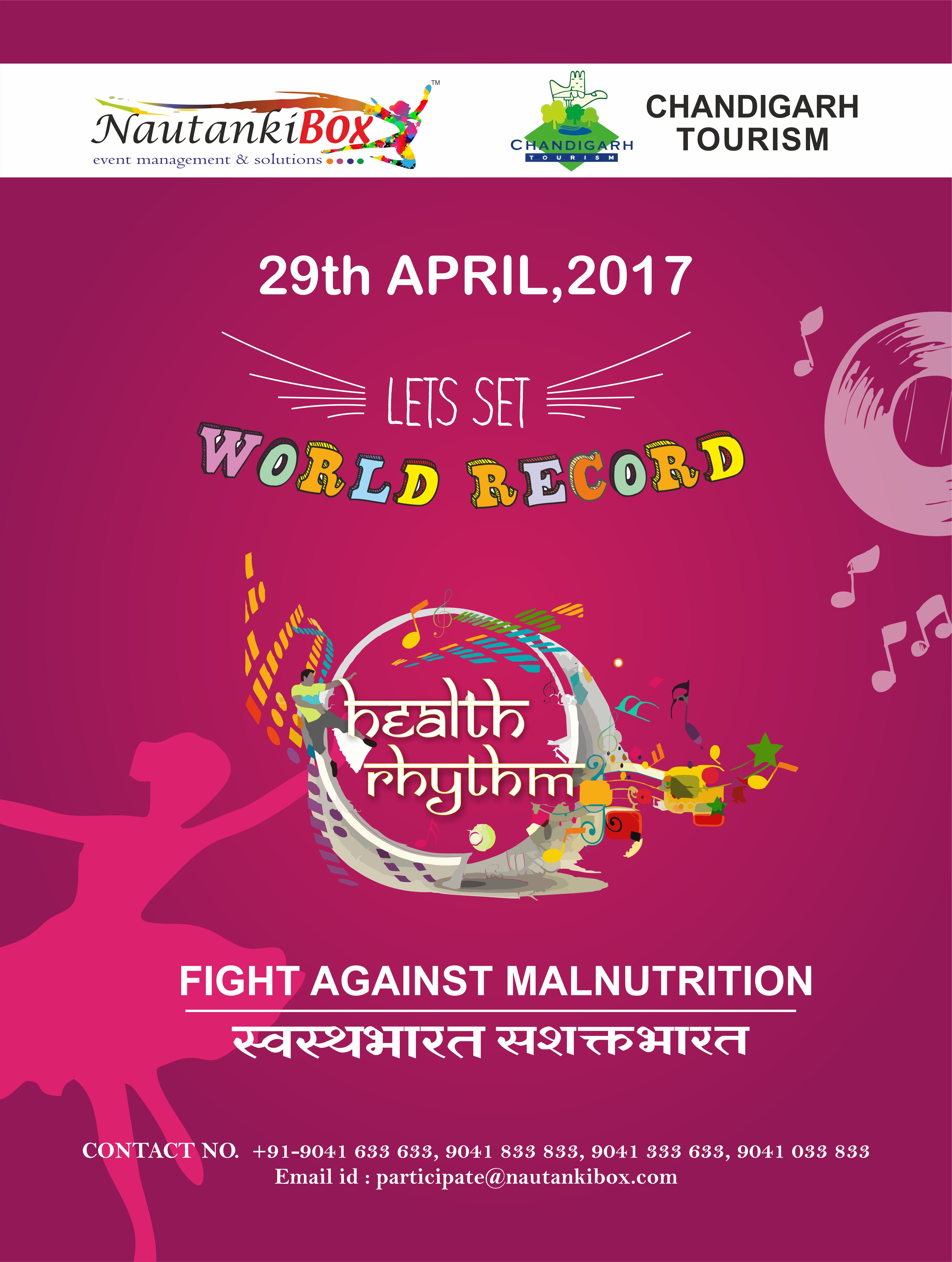 "#Lets_Set_WORLD_RECORD #Swasth_Bharat_Sashakt_Bharat 🇮🇳 ""To watch us Dance is to hear our Hearts speak"" so let's celebrate ""WORLD'S DANCE DAY"" and express our love for Dance! Be the part of gala event ""Health Rhythm"" on 29th April 2017 at Capitol Complex Chandigarh."